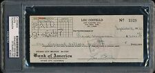 1947 Lou Costello Signed Cancelled Autograph Check PSA/DNA