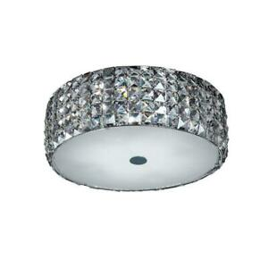 Home Decorators Collection 14 in. 5-Light Chrome Flush Mount with Glass Accents