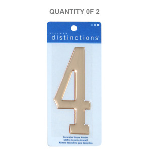 The Hillman Group 848962 Stick-On Domed, Number 4, Gold (2 Pack)