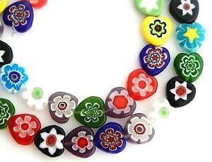 "40 Millefiori Chevron Glass 10mm Flat Heart Shaped Multi-color 16"" Strand Beads"