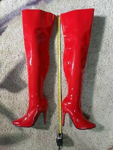 Pleaser Susie Model Thigh High Red Full Side Zipper Stiletto Heel Boots Size 7