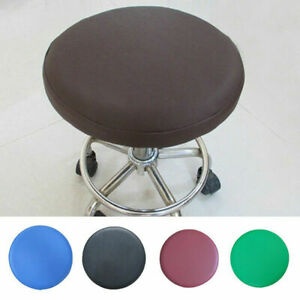 Newly Stool Cover Pure Color Round Chair Sleeve Durable Faux Leather Seat Cloth