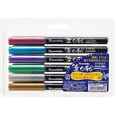 Kuretake Metallic Fude Brush Pen 6 Colors Made in Japan.
