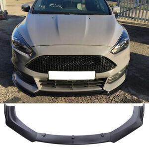 For Ford Focus 2012-2014 Front Bumper Lip Spoiler Splitter Matte Black Trim 3PCS