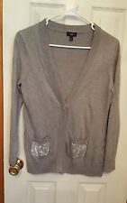 Talbots Gray Embellished Cardigan Sweater  Size  S