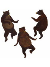 Bears 25 Wallies Dancing Brown Grizzly Bear Folk Art Rustic Cabin Montana Decals