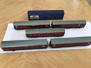 5 x HORNBY DUBLO BR MR COACHES for 2/3 Rail layouts