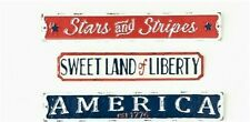 America Liberty Stars & Stripes Set of 3 Metal Distressed Signs New 4th of July