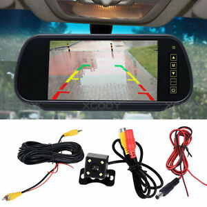 """CAR REAR VIEW 7"""" LCD MONITOR + NIGHT VISION REVERSING PARKING CAMERA 4LED KIT"""