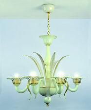 Lampadario In vetro di Murano Cristallo Oro Bianco 5 luci