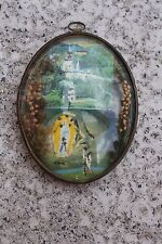 Vintage 1954 Oval Glass Dome Convex Frame Lourdes Virgin Mary Dried Flowers