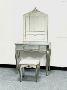 Mirrored Bedroom Dressing Console Glass Table Stool Mirror Vanity Desk Venetian