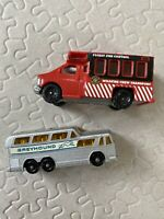 Lot Of 2 Vintage Matchbox Lesney England Greyhound Bus Forest Fire Control 66 98