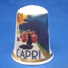 Birchcroft China Thimble - Travel Poster Series - Capri - Free Dome Gift Box
