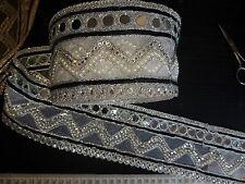 Espejo De Encaje Negro Plata Indio Boda Apliques De Cristal De Cinta traje de la danza