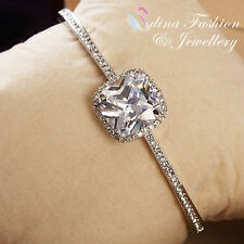 18K White Gold Filled Large 8.0 ct Diamond Cushion Cut Luxury Silver Bangle