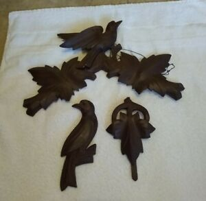 Antique Wood Cuckoo Clock Topper Bird With Maple Leaves