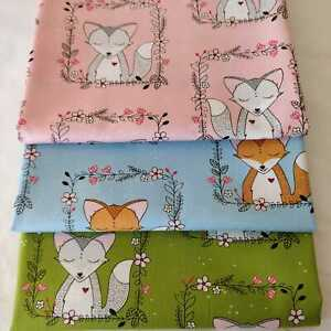 Fox frames floral green blue pink fabric by Michael Miller