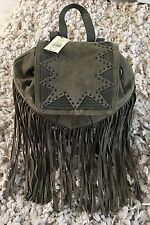 New With Tags Fringe Real Suede  Green  Back Pack  Bag  Miss Selfridge