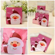 50/100 Pcs Sac Sachet Pochette Père Noël Décor Bonbon Gâteau Biscuit Xmas Cadeau