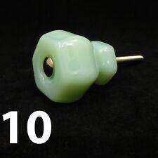 """10 MEDIUM 1.25"""" JADEITE GREEN GLASS Kitchen Cabinet Drawer Knobs Depression"""