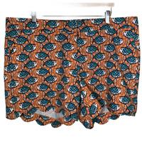 Crown & Ivy Womens Plus Size Scalloped Hem Shorts Bottoms Stretch Fish Curvy 22W
