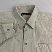 Emme Uno Button Up Shirt Mens Sz XL Brown Long Sleeve Zig-Zag Plaid Casual Shirt