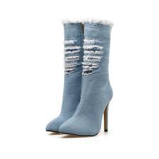 Womens High Heels Stilettos Pointed Toe Side Zipper Hollow Elegant Boots B754