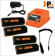 4x replacement batteries1.5ah for paslode + mains&incar chargers & original base