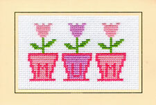 "Pink/Purple 3 Flower Pots ""Mum"" Birthday - Cross Stitch Card Kit 6"" x 4"" - 14 Ct"