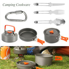Portable Outdoor Camping Hiking Cookware Cooking Picnic Bowl Pot Pan Kettle Set