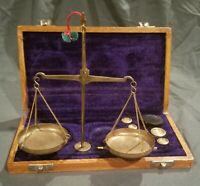 Vintage Brass Beam Scale Apothecary Jeweler Felt Lined Wood Box 1960's / 1970's