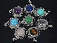 Natural Gemstone Round Ball Reiki Chakra Healing Pendant Charm Beads Silver