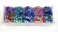 100 Poker Chips in Case 11.5G Heavy Numbered Poker Chips 5 colours - see details