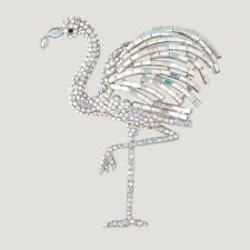 Butler and Wilson COUTURE Large Clear AB Crystal Flamingo Brooch  New