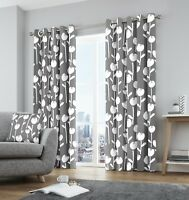 Fusion Alabar Floral 100% Cotton Fully Lined Eyelet Curtains Grey