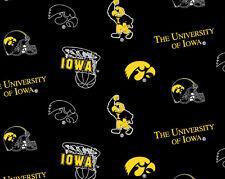 College University of Iowa Hawkeyes Print Fleece Fabric by the yard #siowa035s