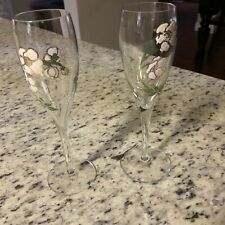 2 (Two) VTG PERRIER-JOUET Hand Painted Champagne Anemone Belle Epoque Flutes