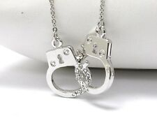 NEW CRYSTAL HANDCUFFS PENDANT LINK NECKLACE WHITE GOLD