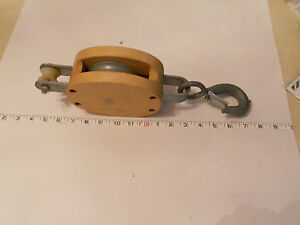 """Campbell 6"""" Wood Block Single Steel Wheel Pulley 1800LB WLL Discontinued Model"""
