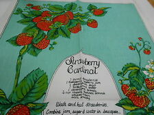VINTAGE SOUVENIR TEA TOWEL LINEN/COTTON BLEND 'STRAWBERRY CARDINAL' NEW
