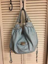 B. Makowsky Aqua Blue  Leather Stitching Shoulder Bag Tote Handbag Hobo Purse