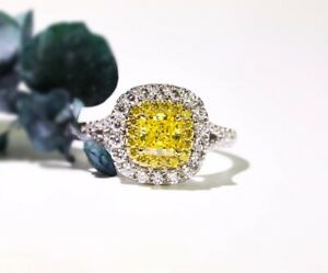 Ladies Solid 925 Sterling Silve 0.75 Ct Yellow Simulated Diamond Wedding Ring