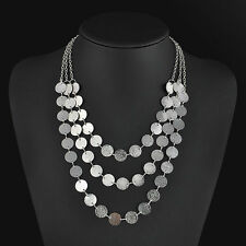 Boho Bohemian Gypsy Multi Layer Silver Chain Coin Party Statement Necklace