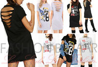Womans Ripped Slash Back Vintage Rock 50/50 Long T Shirt Mini Dress Baggy Top