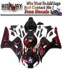 Fairings For Honda CBR1000RR 2006 2007 ABS Fairing Kit Body Kit Black Red Flames