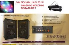 COPPIA 2 CASSE ACUSTICHE AMPLIFICATE ATTIVE AUDIO MP3 USB/SD KARAOKE BLUETOOTH