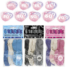 """Birthday Party Glitz Latex Balloons 12"""" Pink Blue Black Decorations Pack of 6"""