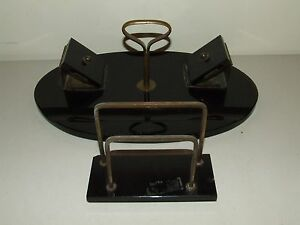Antique 19th C. Black Marble Slate Desk Set