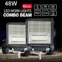 2 Pcs Square LED Work Light Pods SPOT Lights For Truck Off Road Tractor 12V 24V